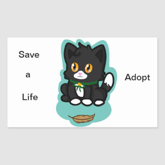 Black Cat Adopt Sticker