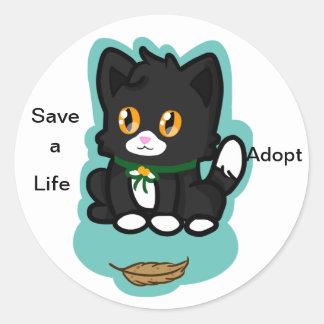 Black Cat Adopt Stickers