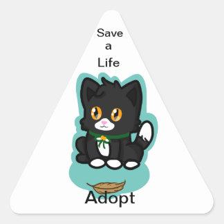 Black Cat Adopt Triangle Sticker