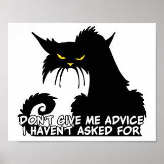 Black Cat Advice Saying Poster