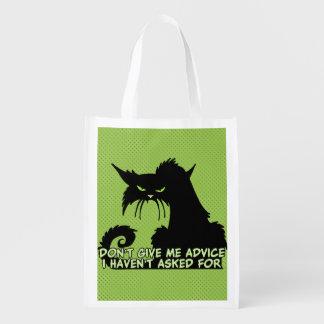 Black Cat Advice Saying Reusable Grocery Bag