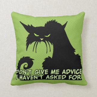 Black Cat Advice Saying Throw Pillow