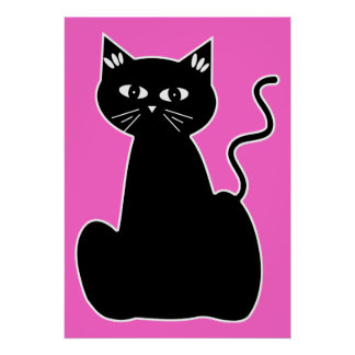 Black Cat Against a Hot Pink Background Poster