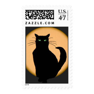 Black Cat Against the Rising Moon Postage Stamp