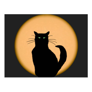 Black Cat Against the Rising Moon Postcard