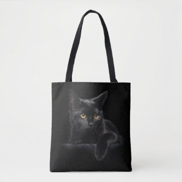 FantasyApparel Black Cat All-Over-Print Tote Bag