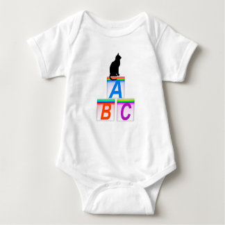 Black Cat and A,B,C, Bricks Infant Creeper, White T-shirt