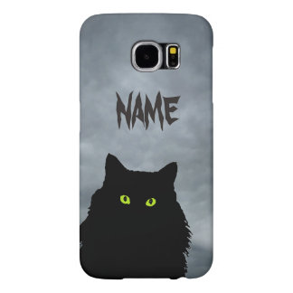 Black Cat and Angry Clouds Samsung Galaxy S6 Case