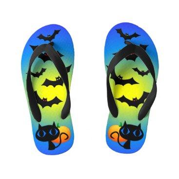 Halloween Themed Black Cat and Bats on Blue Kid's Flip Flops