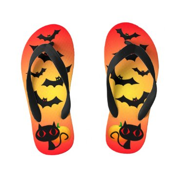 Halloween Themed Black Cat and Bats on Red Kid's Flip Flops