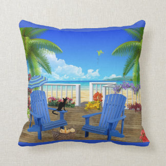 Black Cat and Beach Pillow