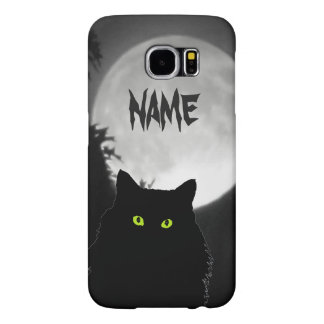 Black Cat and Big Moon Samsung Galaxy S6 Case