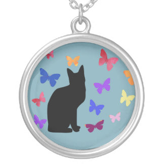 Black cat and butterflies necklace