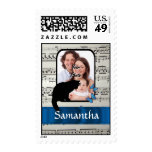 Black cat and butterflies postage stamps