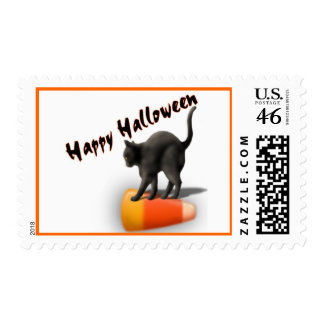 Black Cat and Candy Corn Postage Stamps