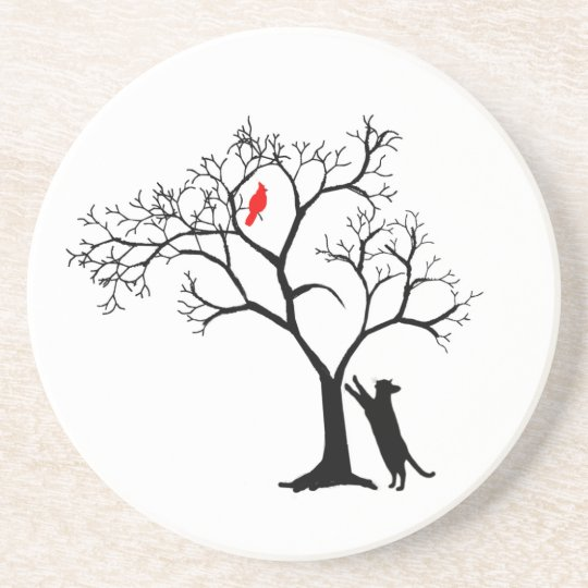 Black Cat and Cardinal in Tree Coaster