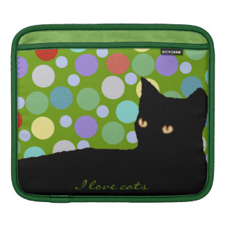 black cat and colorful balls iPad sleeves