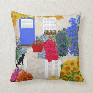 Black Cat and Flower Garden Pillow