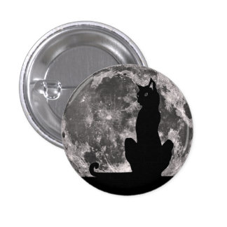 Black Cat and Full Moon Button