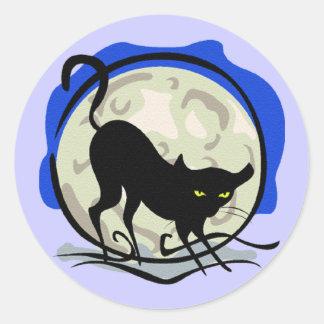 Black Cat and Full Moon Classic Round Sticker