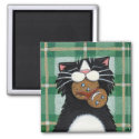 Black Cat and Gingerbread Snowman Magnet