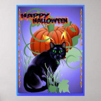 Black Cat and Glaring Pumpkin-lettered Poster