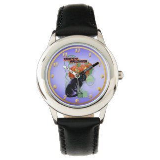 Black Cat and Glaring Pumpkin-lettered Wristwatches