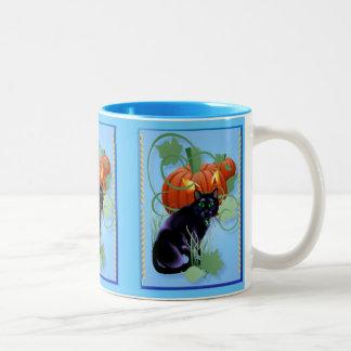 Black Cat and Glaring Pumpkin Two-Tone Coffee Mug
