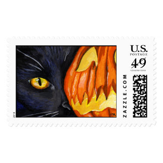 Black Cat and Halloween Pumpkin Painting Postage