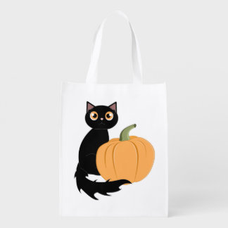 Black Cat and Halloween Pumpkin Trick or Treat Bag Grocery Bags