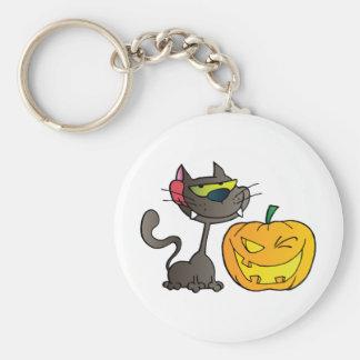 Black Cat And Halloween Pumpkin Winking Keychain