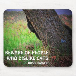Black cat and Irish proverb Mousepad