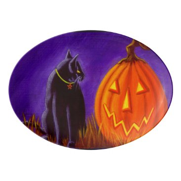 Halloween Themed Black cat and Jack-O-Lantern platter