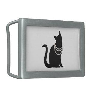 Black cat and jewel belt buckle