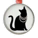 Black cat and jewel ceramic ornament
