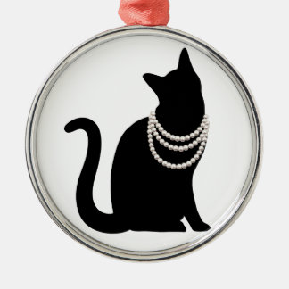 Black cat and jewel ceramic ornament