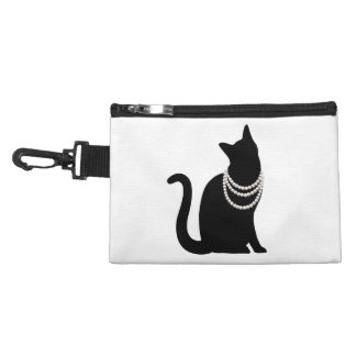 Black cat and jewel clip string attaching accessory bag