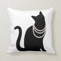 Black cat and jewel cushion