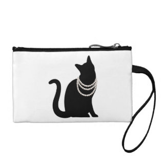 Black cat and jewel key coin clutch coin wallets