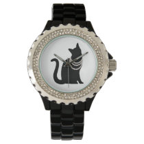 Black cat and jewel line stone wrist watch