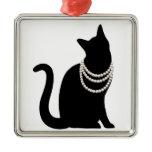 Black cat and jewel metal ornament