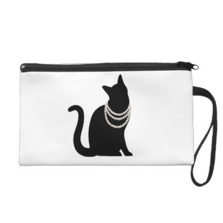 Black cat and jewel risutoretsutobatsugu wristlet purses