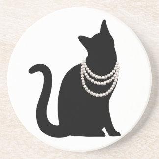 Black cat and jewel sand stone coaster