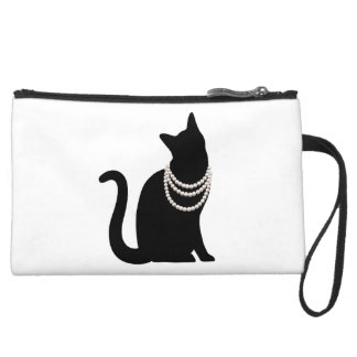 Black cat and jewel suede mini- clutch bag wristlet purse
