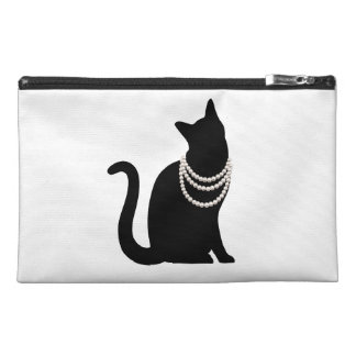 Black cat and jewel travel accessory bag