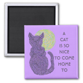 Black Cat And Moon A Cat Is So Nice Home Magnet