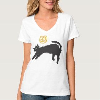 Black Cat And Moon Art Design T-Shirt