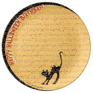 Beach Themed Black Cat and Moon Happy Halloween Birthday! Plate