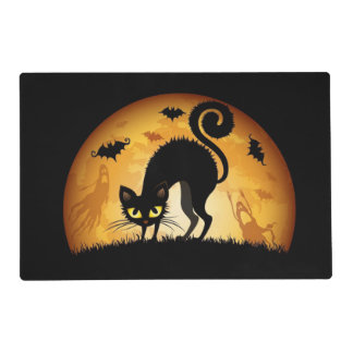 Black Cat and Moon Laminated Placemat