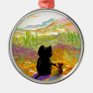 Black Cat and Mouse Colorful Art Creationarts Metal Ornament